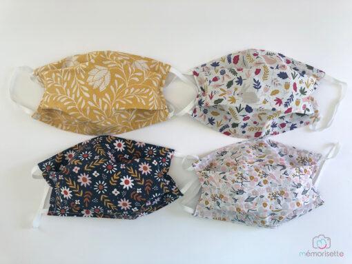 Masques afnor: tissu femme, tissu fleurs et liberty