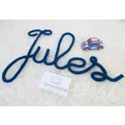 Prénom JULES en tricotin bleu canard
